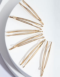 Gold Zig Zag Hair Clip 6 Pack - link has visual effect only