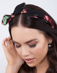 Red Floral Bow Headband