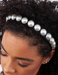 Black White Bead Pearl Headband - link has visual effect only