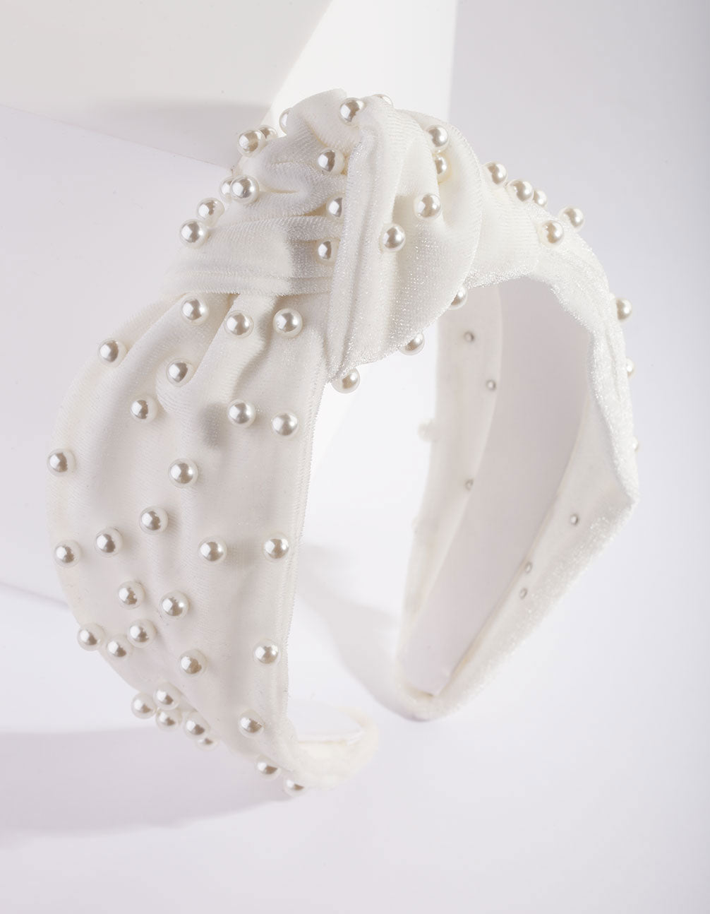 White Fabric Knot Pearl Headband