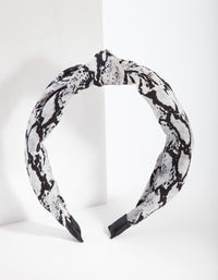 Black and White Snakeskin Turban Headband - link has visual effect only