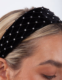 Black Velvet Diamante Net Headband
