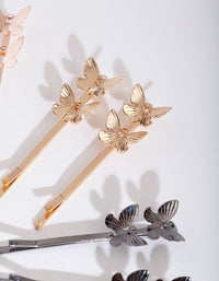 Butterfly Mixed Metal Hair Pin Pack