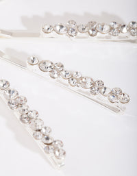 Silver Round-cut Crystal Hair Pin 4 Pack