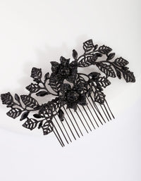 Black Diamante Floral Comb - link has visual effect only