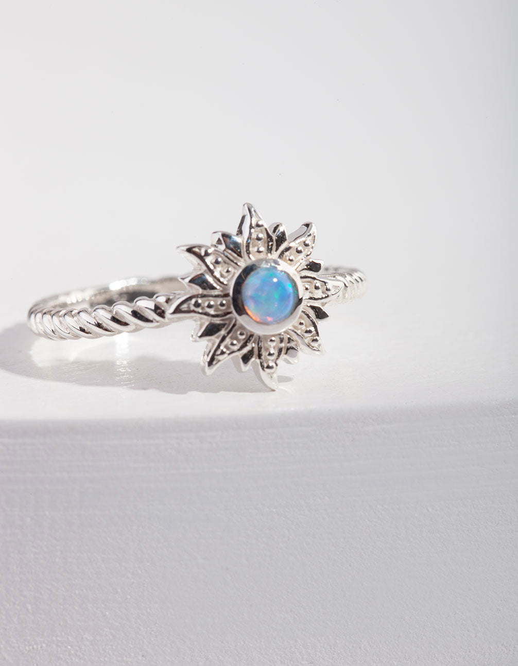 Sterling Silver Opal Sun Ring