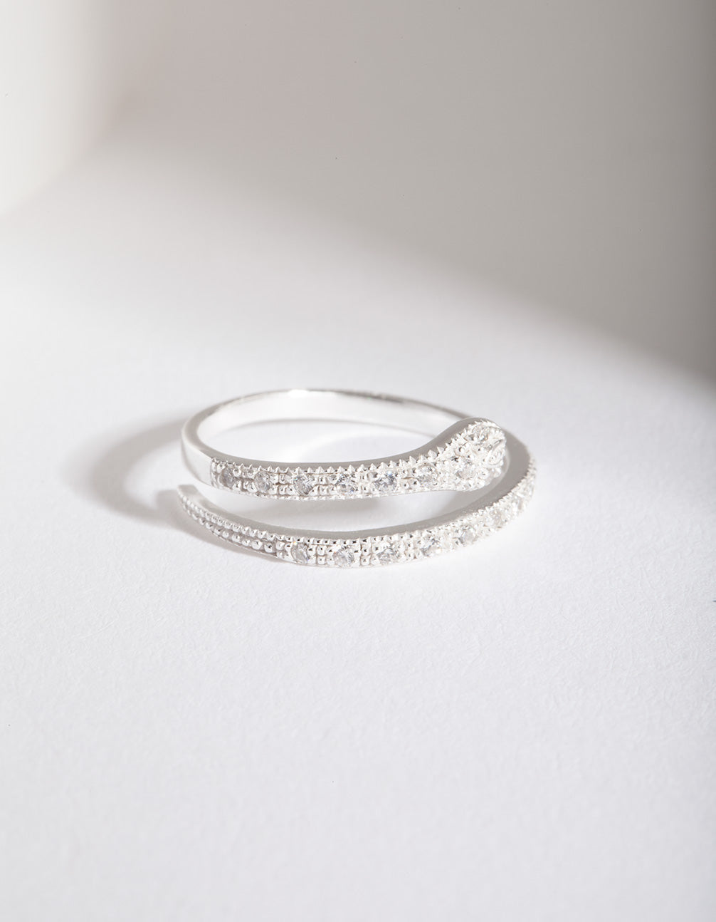 Sterling Silver Diamante Snake Ring