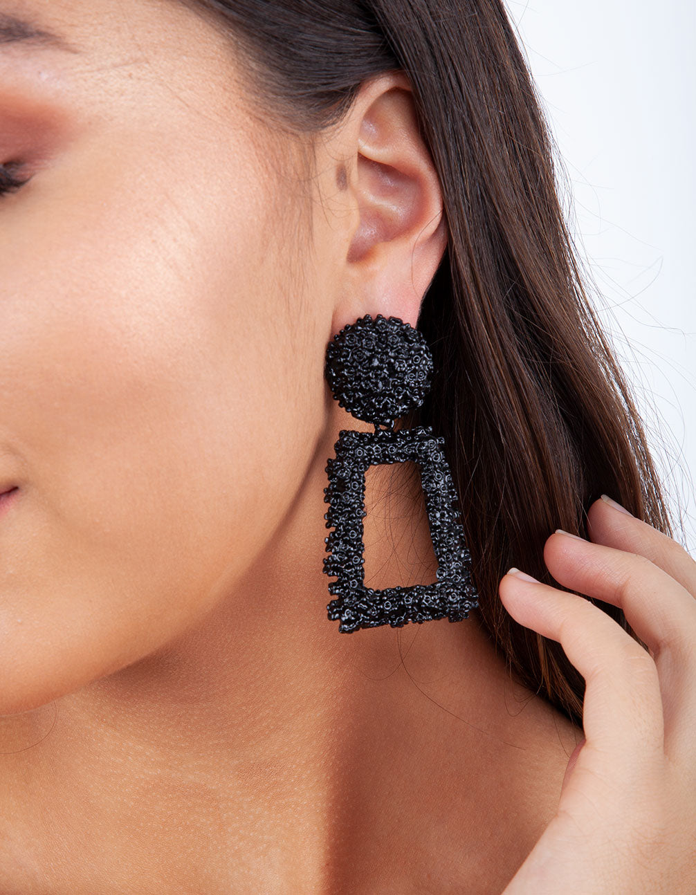 Black Textured Geometric Drop Earring