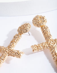 Gold Textured Cross Earring