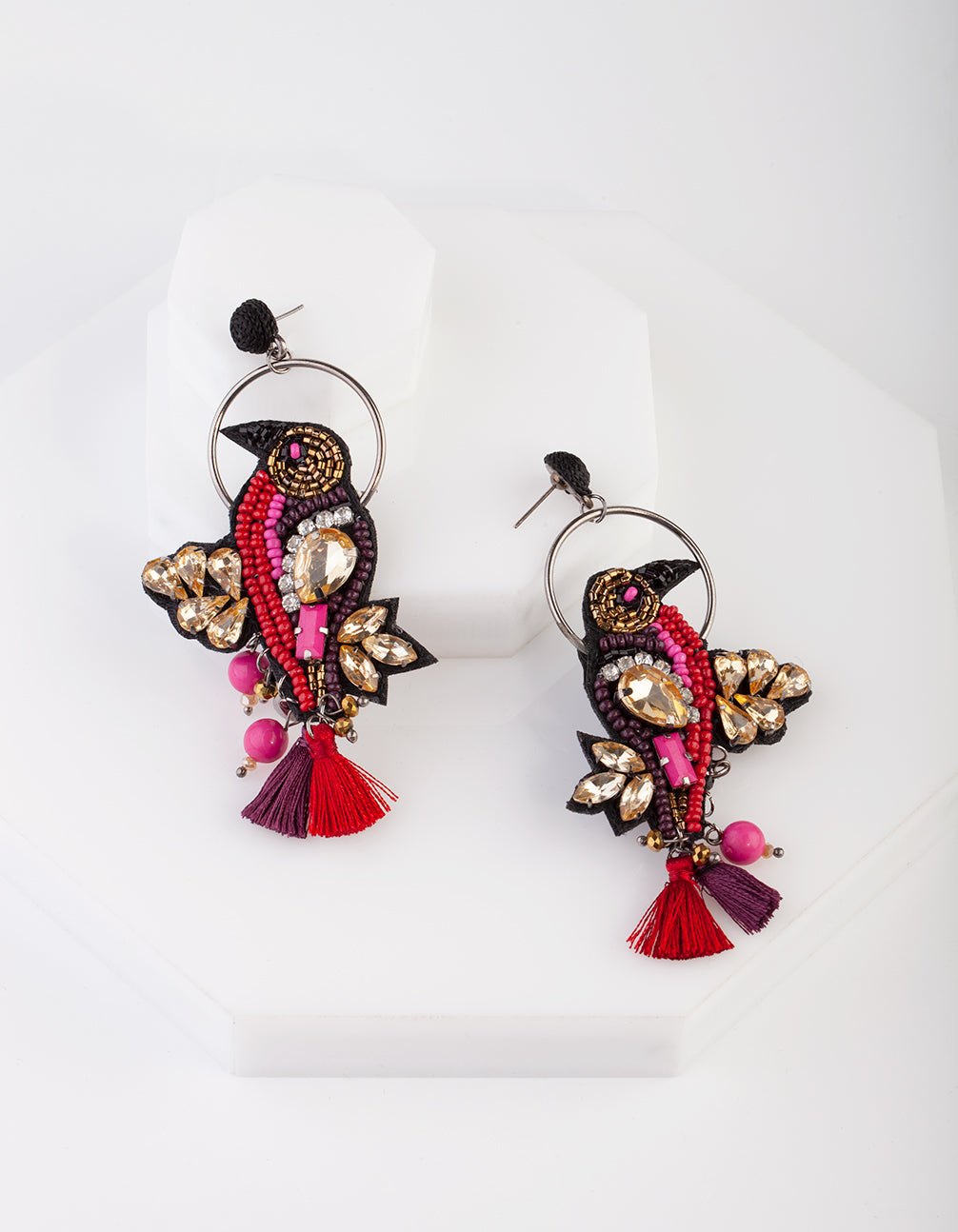 Red Halo Bird Statement Earrings