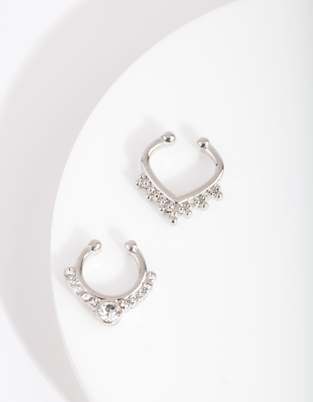 Rhodium Bohemian Diamante Septum 2 Pack