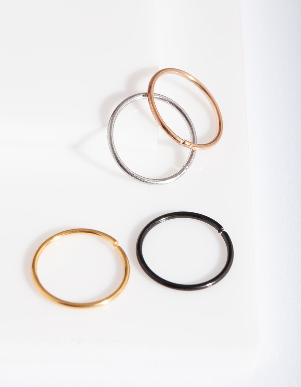 Mixed Metal Classic Nose Ring 4 Pack