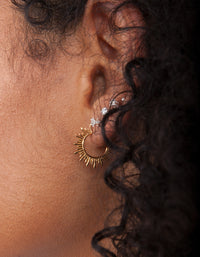 Gold Plated Sterling Silver Sunburst Hoop Earrings - link has visual effect only