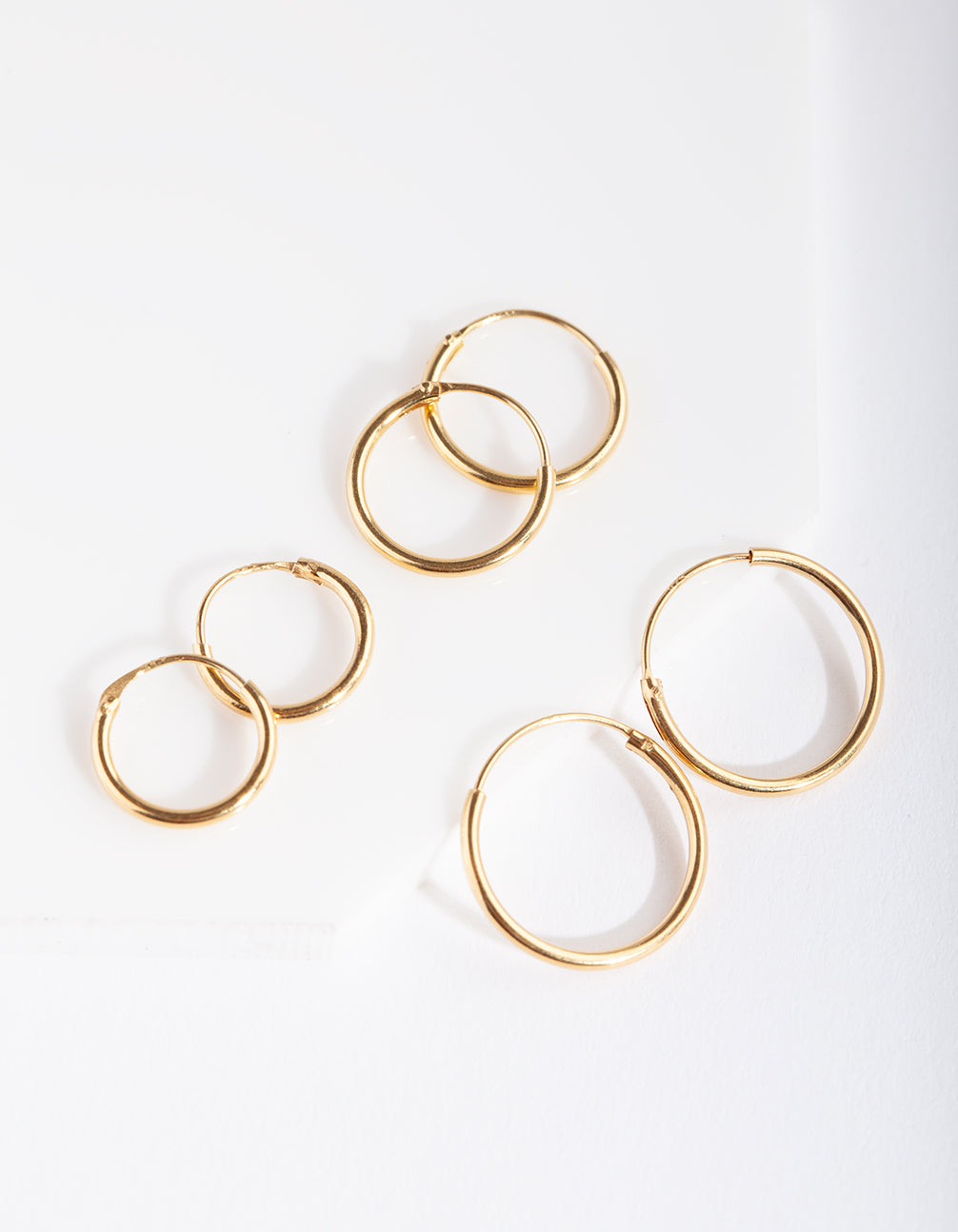 Gold Plated Sterling Silver Classic Hoop Earring 3 Pack