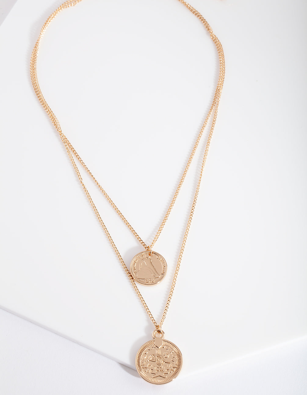 Gold Multi Layer Coin Duo Necklace