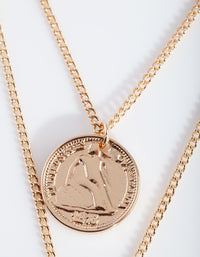 Gold Multi Layer Coin Duo Necklace - link has visual effect only