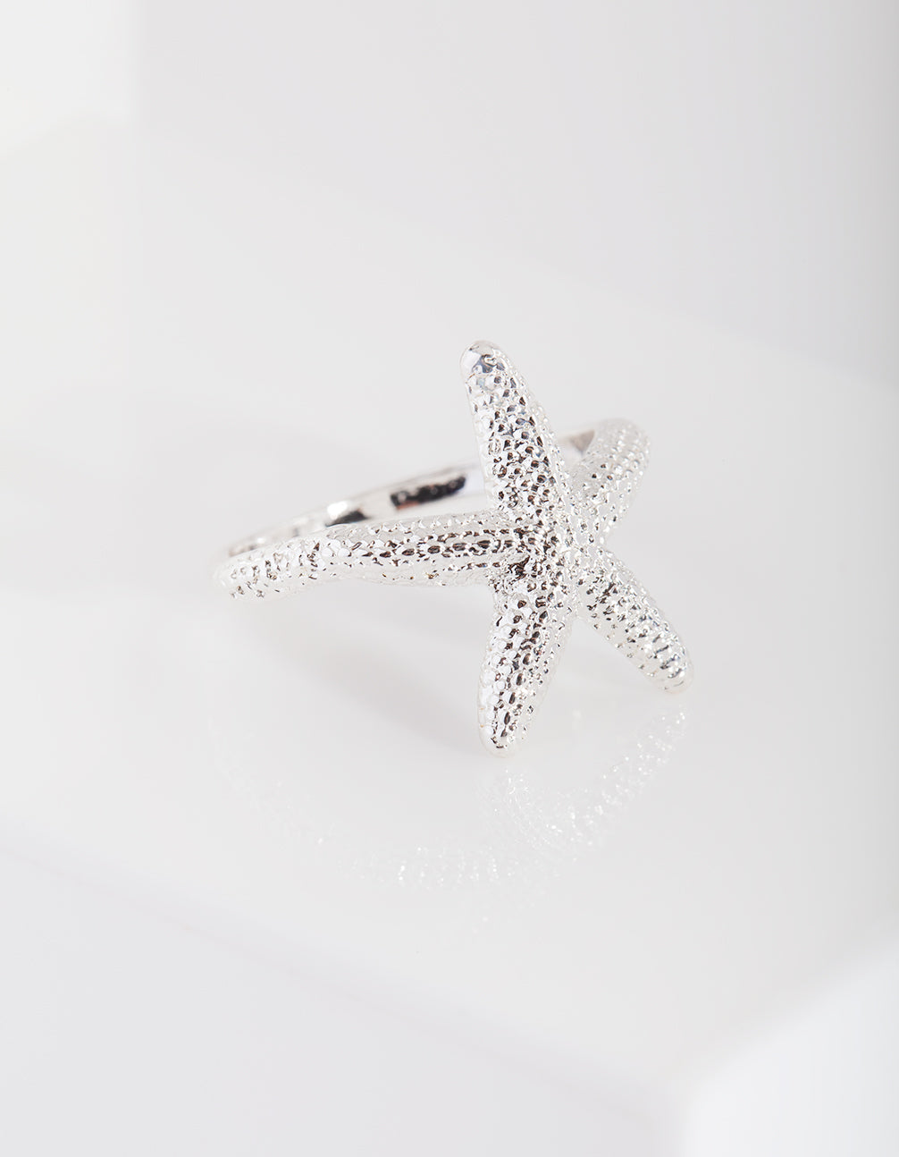 Silver Textured Starfish Ring