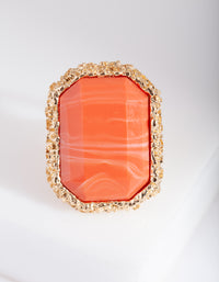 Orange Stone Gold Textured Ring