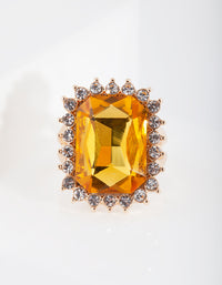 Gold Citrine Faceted Stone Ring