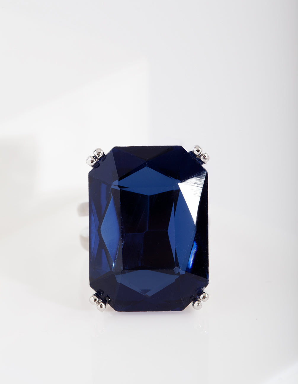 Blue Rhodium Gem Rectangle Ring