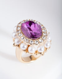 Glam Purple Pearl Statement Ring