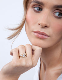 Gold Round Cubic Zirconia Ring Stack - link has visual effect only