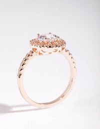 Rose Gold Cubic Zirconia Round Ring - link has visual effect only