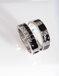 Black Diamante Enamel Ring Stack