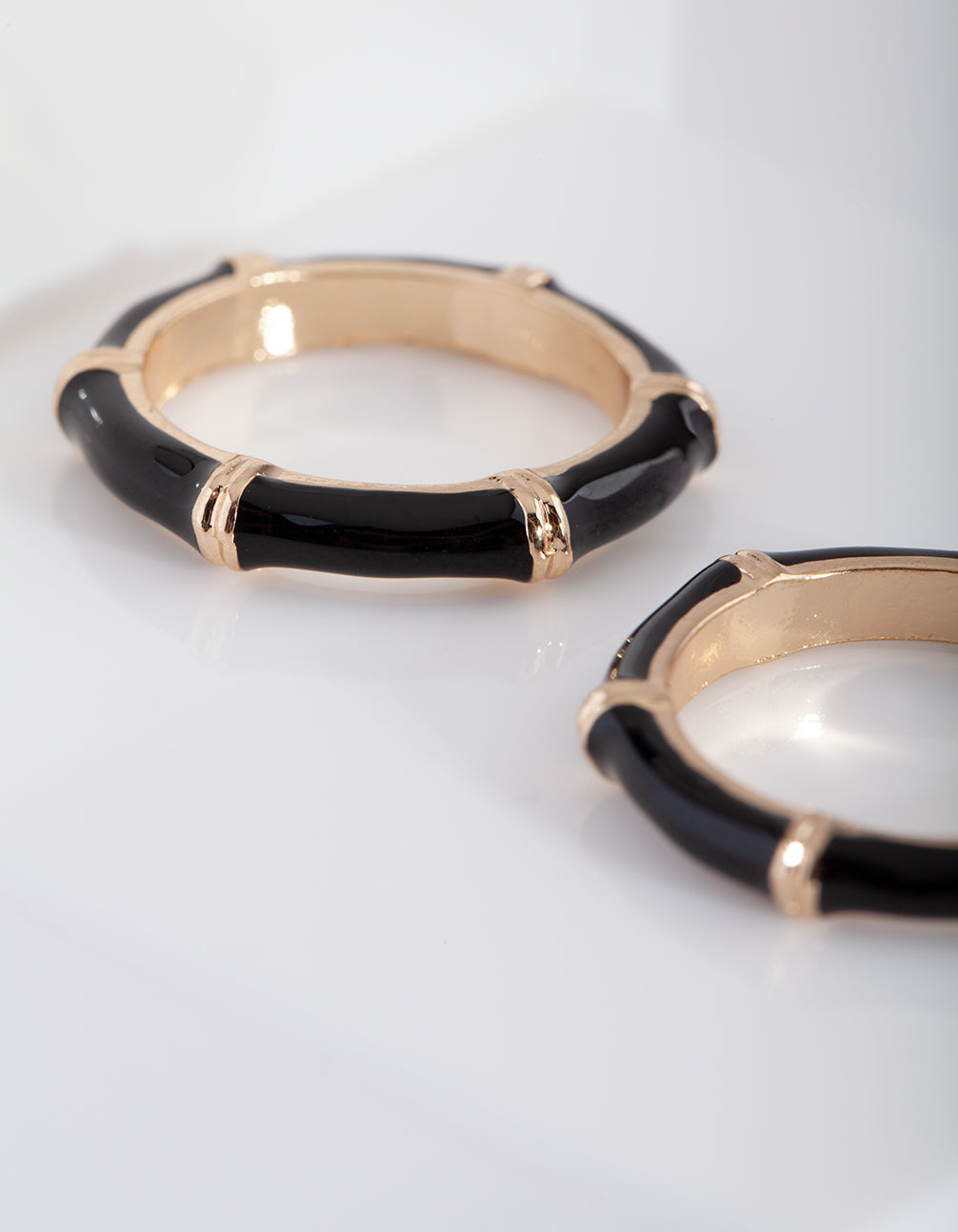 Gold Black Bamboo Ring 3 Pack