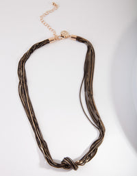 Black Chain Knot Tie Necklace - link has visual effect only