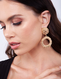 Gold Textured Round Drop Earring