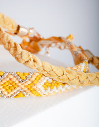 Gold Yellow Friendship Bracelet 10 Pack