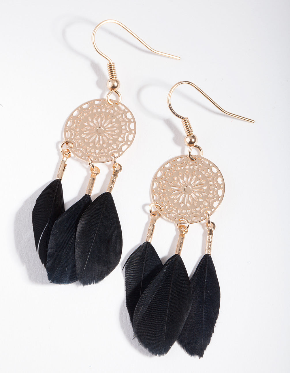 Gold Black Feather Dreamcatcher Earring