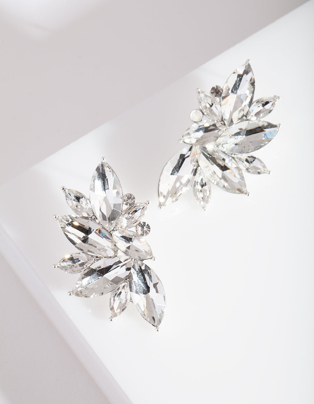 Diamante Fan Stud Earrings