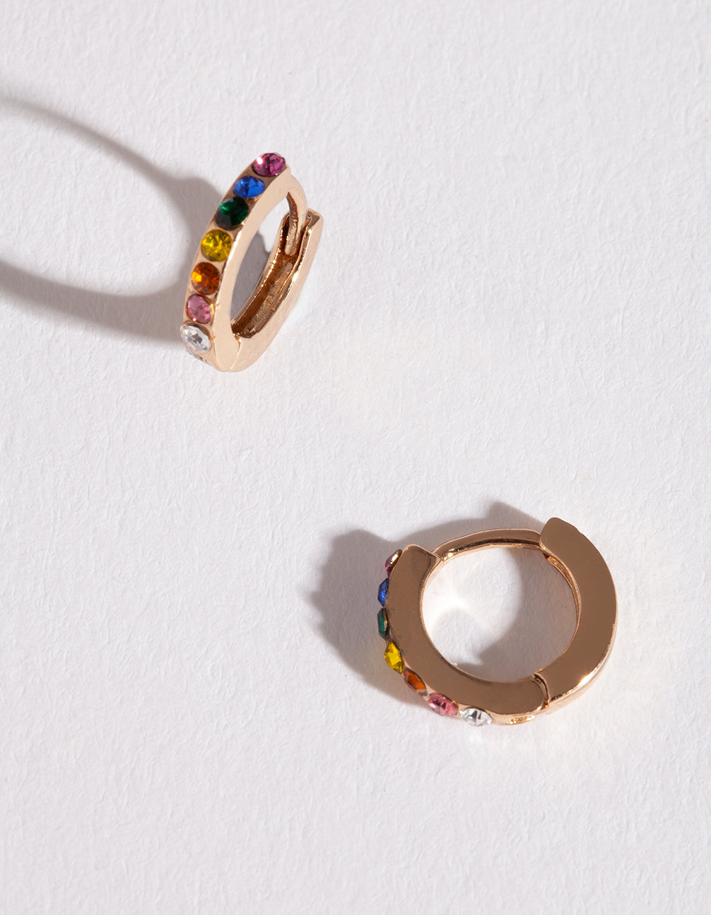 Gold Rainbow Diamante Huggie Earrings