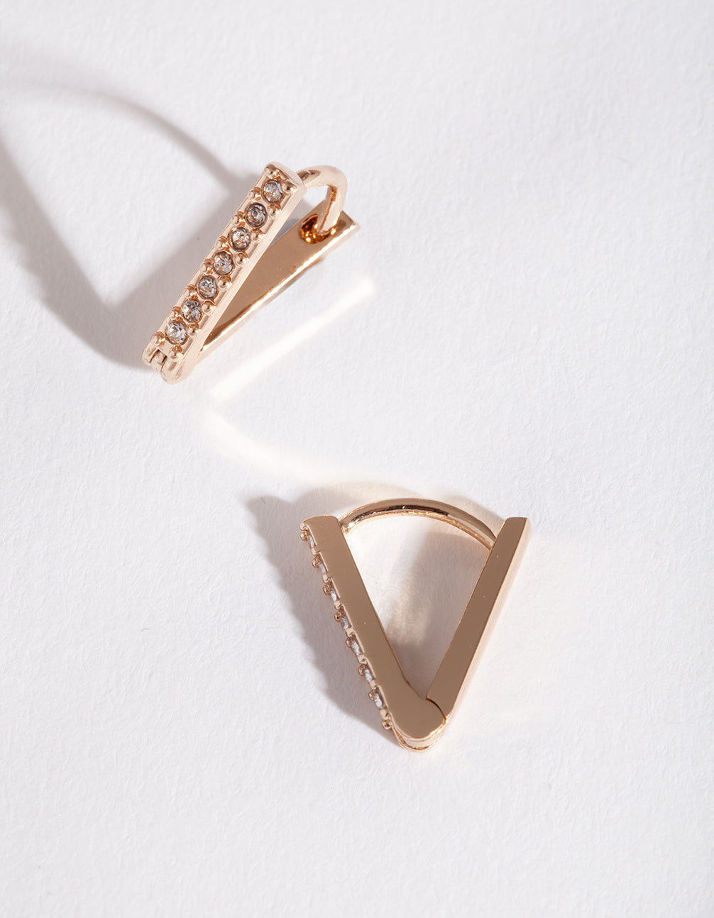 Gold Geometric Diamante Huggie Earrings