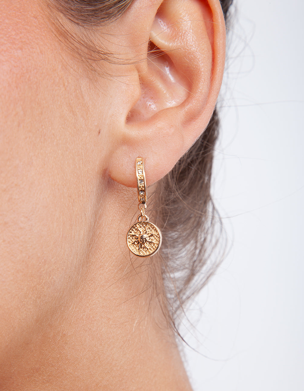Gold Charm Huggie Earrings