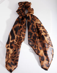 Brown Leopard Scrunchie Scarf
