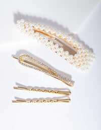 Mix & Match Pearl and Diamante Clip 4 Pack