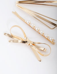 Gold Pearl Bow Hair Clip Pack - link has visual effect only