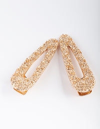 Textured Gold Hair Clip 2 Pack