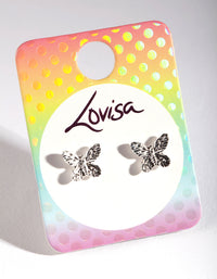 Kids Silver Butterfly Stud Earring - link has visual effect only