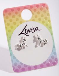 Kids Silver Metal Unicorn Earring - link has visual effect only