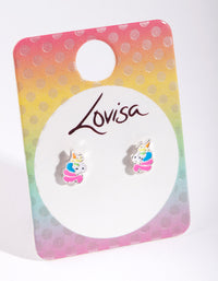 Kids Silver Metal Rainbow Unicorn Earring - link has visual effect only
