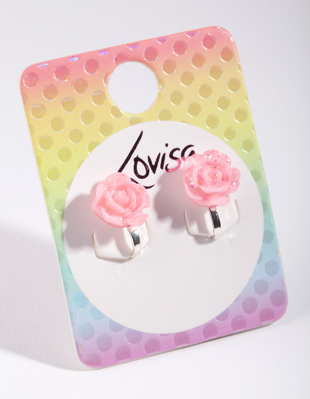 Kids Pink Glitter Flower Clip-On Earring