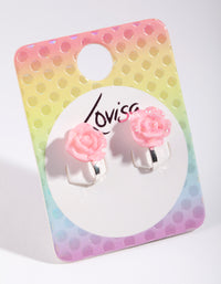 Kids Pink Glitter Flower Clip-On Earring - link has visual effect only