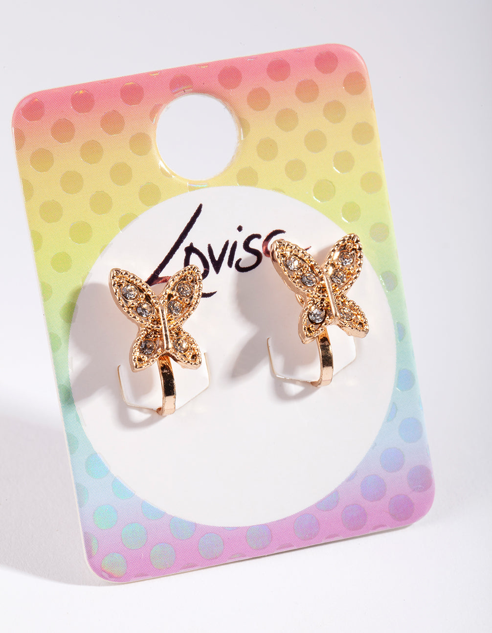 Kids Gold Metal Crystal Butterfly Clip-On Earring