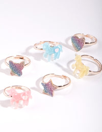 Kids Rose Gold Glitter Ring 6 Pack - link has visual effect only