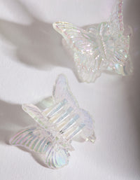 Kids Clear Acrylic Butterfly Clip Pack