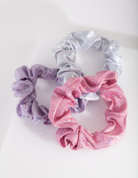 Pink Purple Holographic Scrunchie Trio